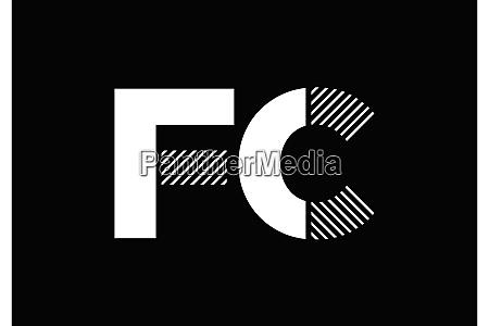 f c fc initial letter logo