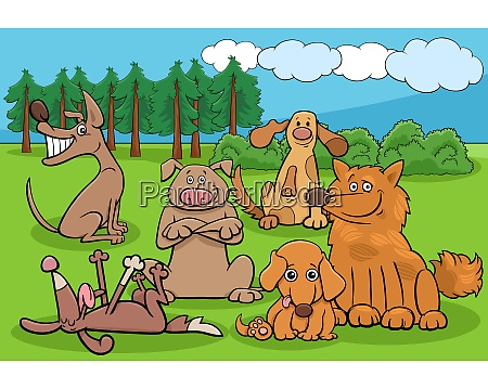 cartoon dogs funny characters group in