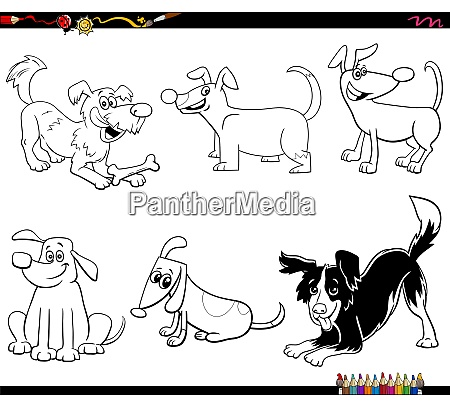 cartoon dogs and puppies set coloring