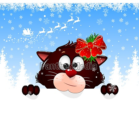 cat portrait christmas greeting card
