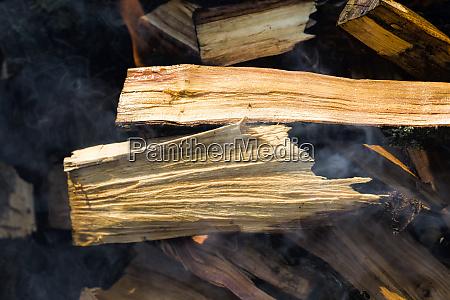 burning felled trees
