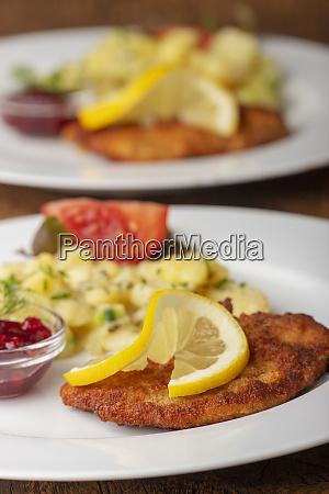 wiener schnitzel with potato salad