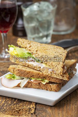 closeup of a ham sandwich on
