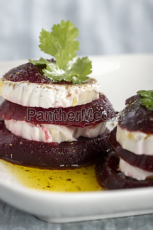 beetroot slices with goat cheese and