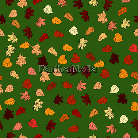 abstract doodle autumn leaves seamless