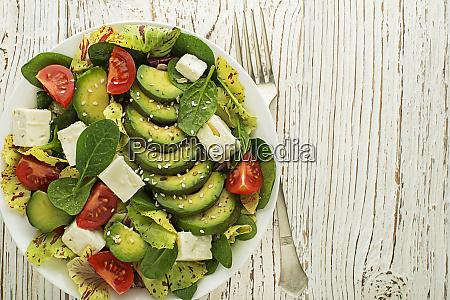 green salad avocado feta