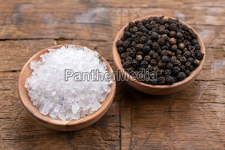 coarse crystal salt and whole black