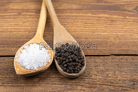 coarse crystal salt and whole black
