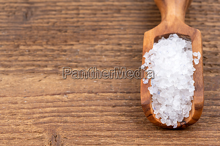 rough crystal salt on a small