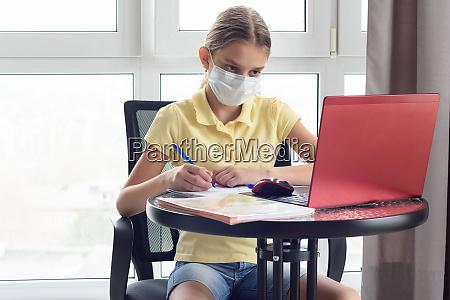 self isolation girl remotely educates online
