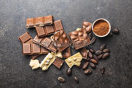 milk chocolate bars dark and white