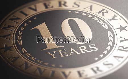 10th anniversary golden stamp over black