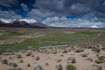 high plateau and mountains in lauca