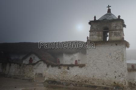 church of parinacota in a fog