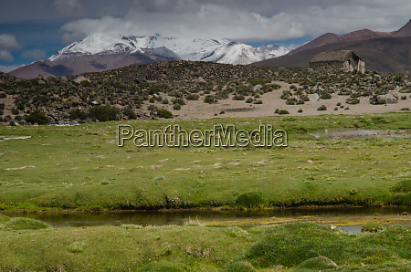 meadow hut and mountains in lauca