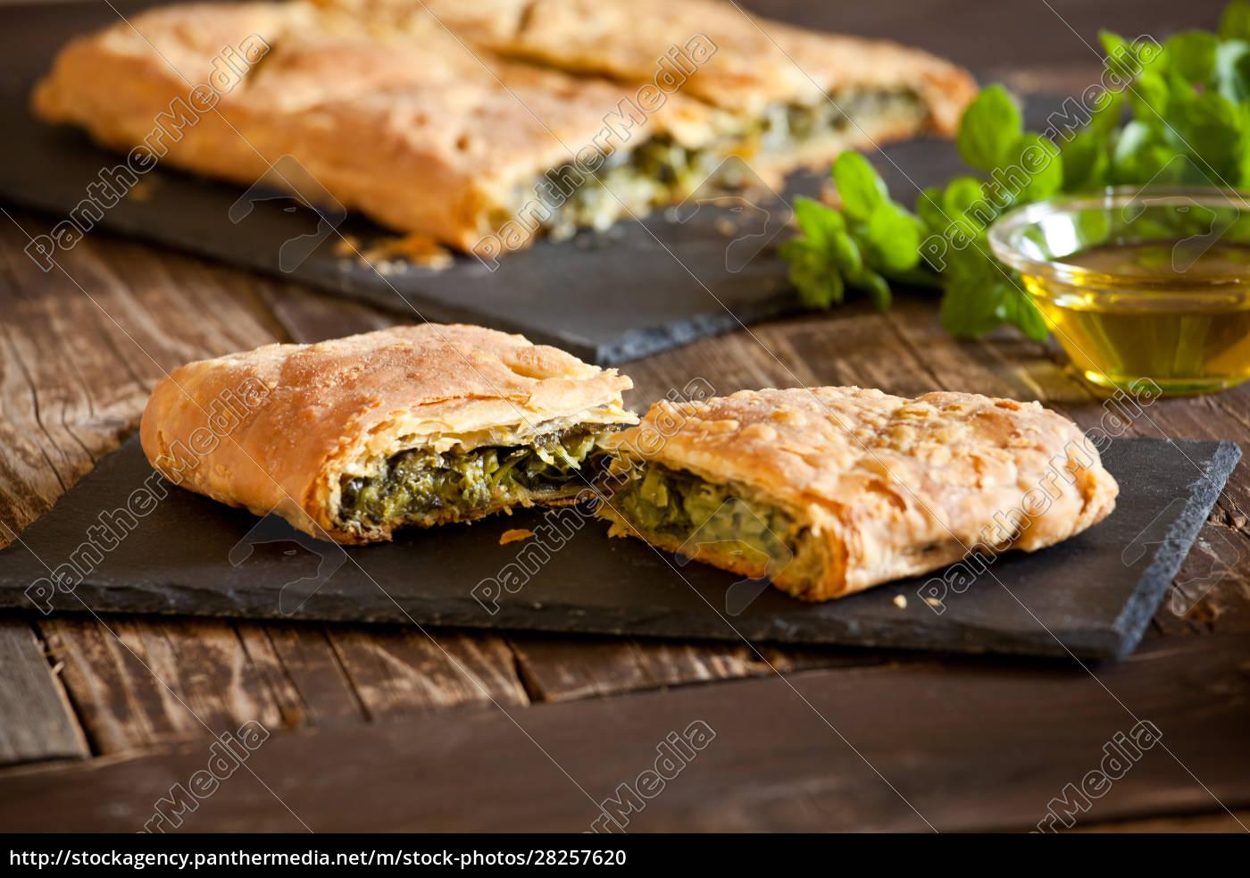 homemade, greek, spinach, pie - 28257620