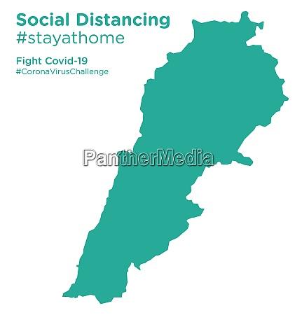 lebanon map with social distancing stayathome