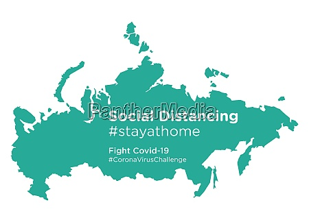 russia map with social distancing stayathome