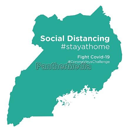 uganda map with social distancing stayathome