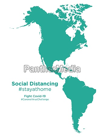 american continent map with social distancing