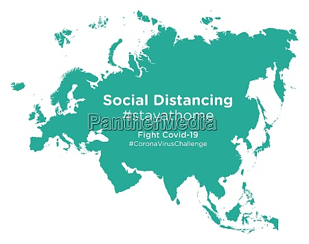 eurasia map with social distancing stayathome