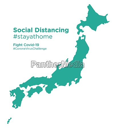 japan map with social distancing stayathome