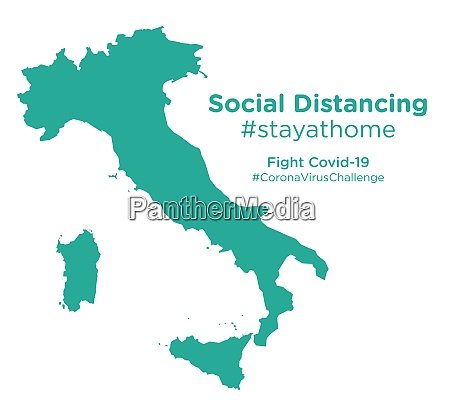 italy map with social distancing stayathome