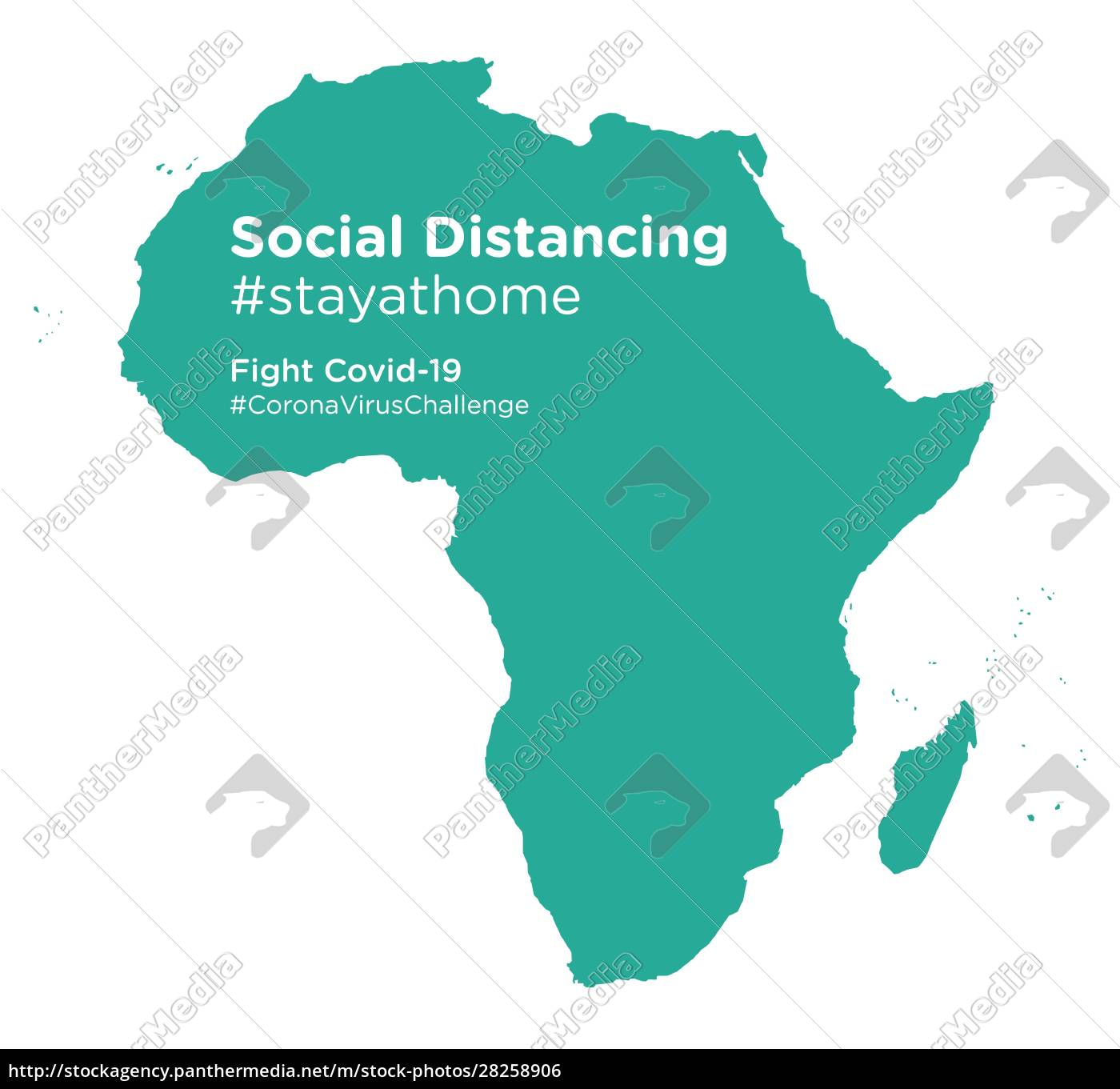 african, continent, map, with, social, distancing - 28258906