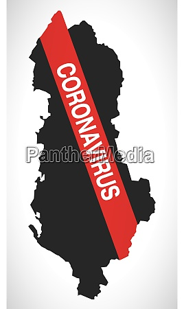 albania, map, with, coronavirus, warning, illustration - 28258983