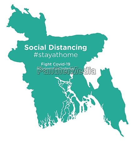 bangladesh, map, with, social, distancing, #stayathome - 28258664