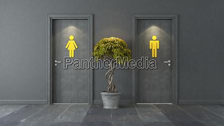 black, restroom, doors, with, yellow, sign - 28258059