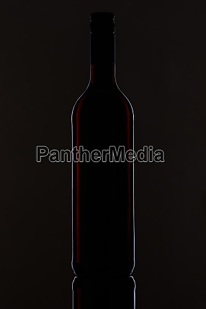 bottle, with, red, wine, with, black - 28258607