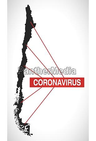 chile, map, with, coronavirus, warning, illustration - 28258926