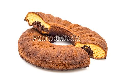 circular, marbled, cake, cut, in, half - 28258628