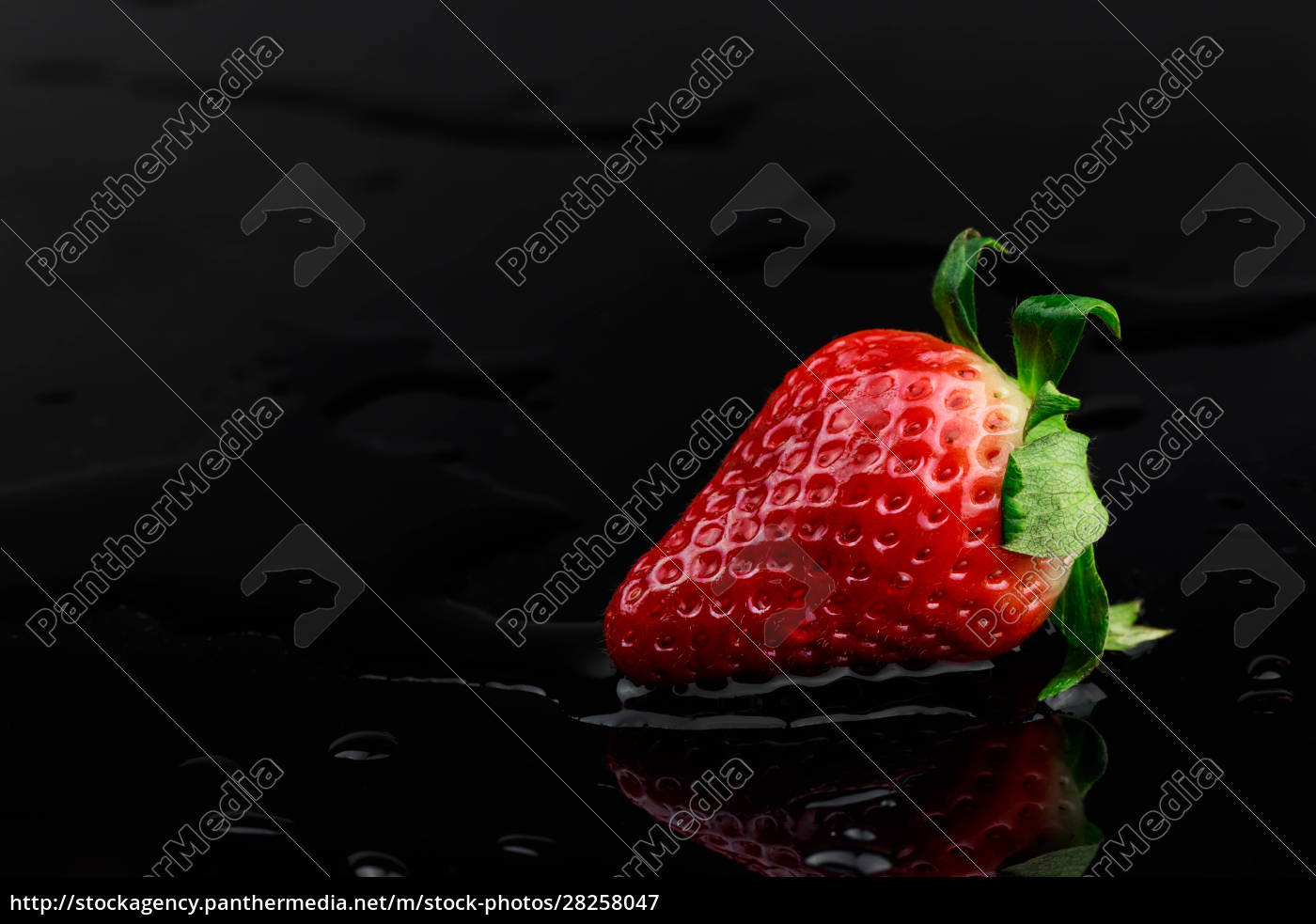 delicious, red, strawberry, on, black, acrylic - 28258047