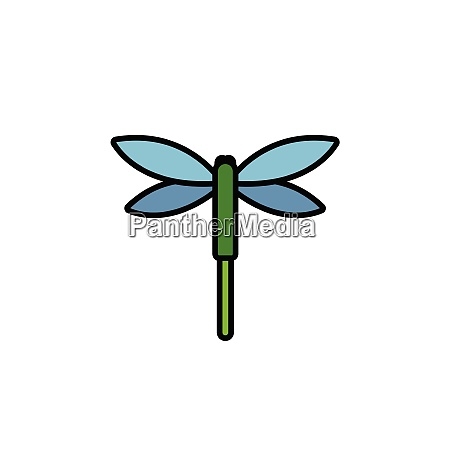 dragonfly., filled, color, icon., animal, vector - 28258303