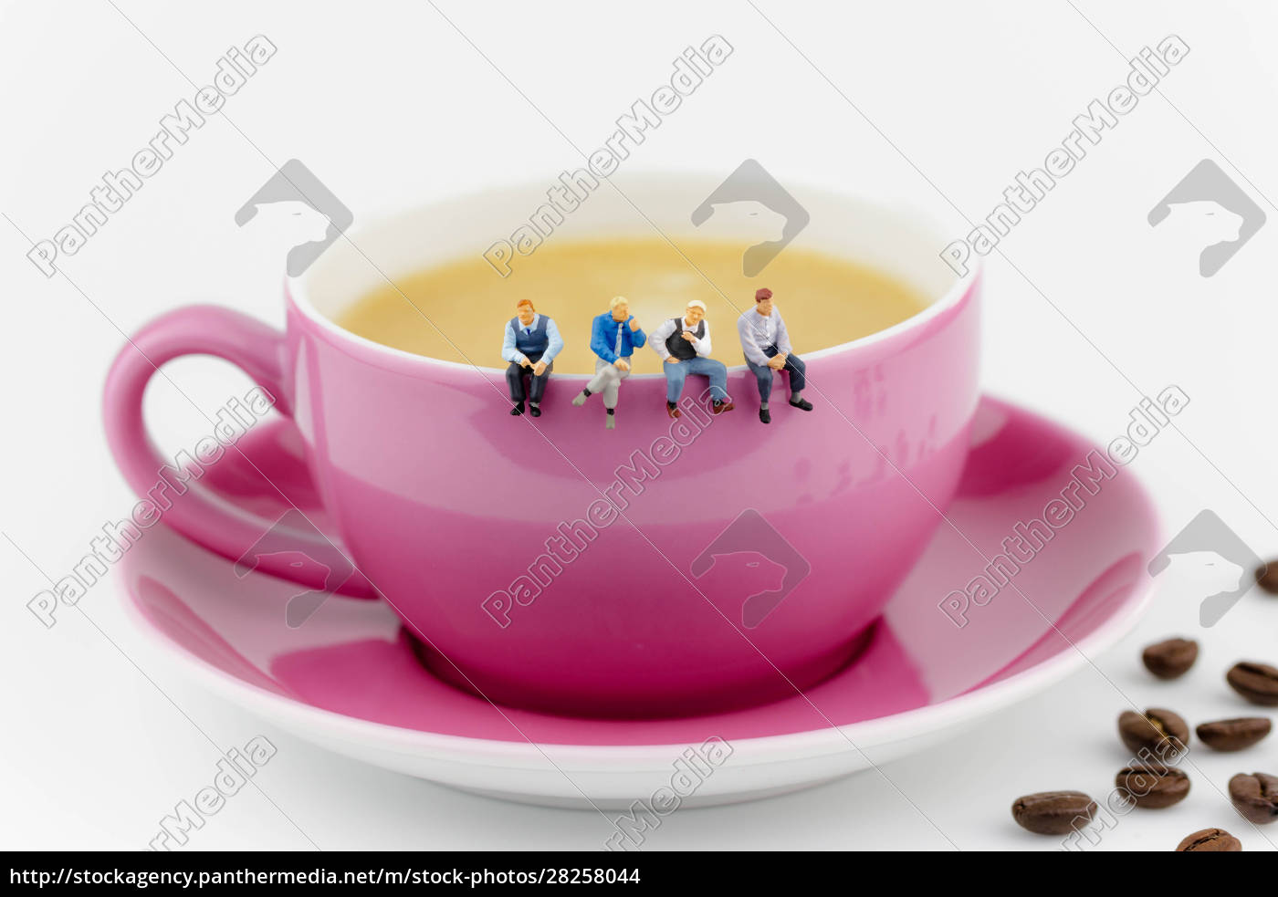 four, miniature, men, sitting, on, a - 28258044