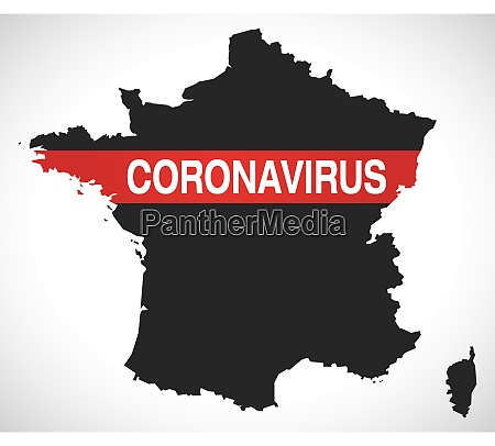 france, map, with, coronavirus, warning, illustration - 28258943