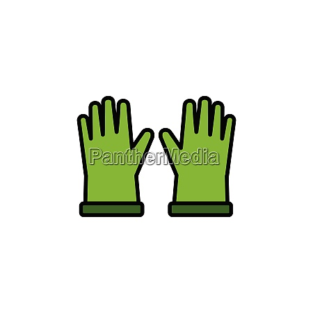 gardening, gloves., filled, color, icon., clothes - 28258467
