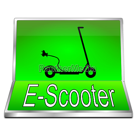 green, e-scooter, button, -, 3d, illustration - 28258016