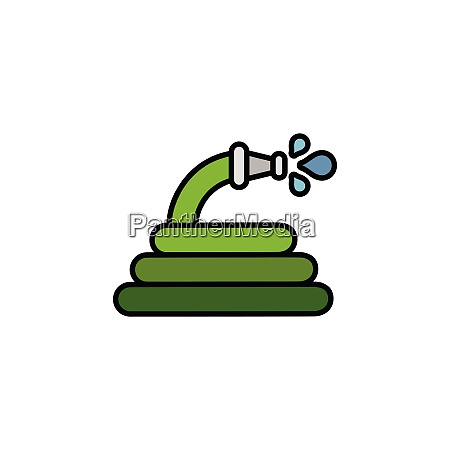 hose., filled, color, icon., gardening, vector - 28258471