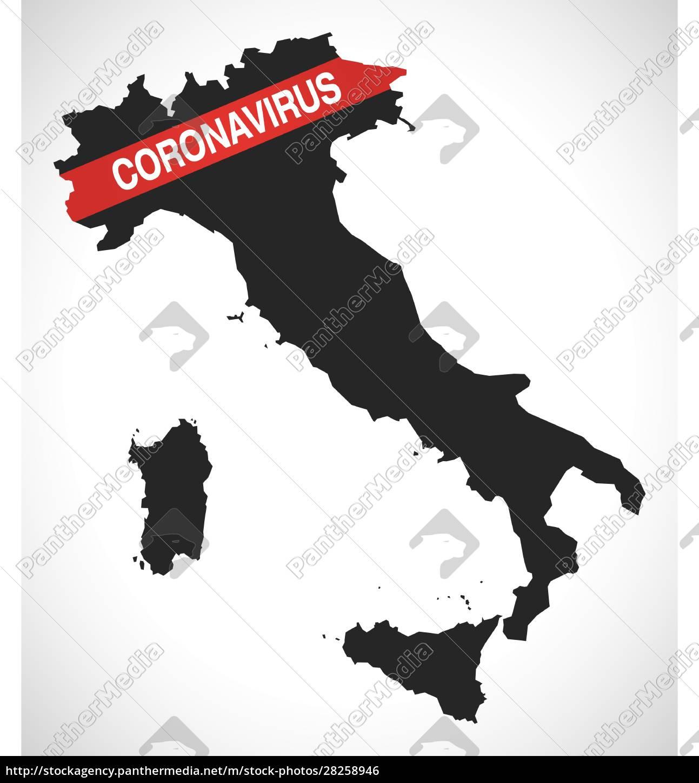 italy, map, with, coronavirus, covid-19, warning - 28258946