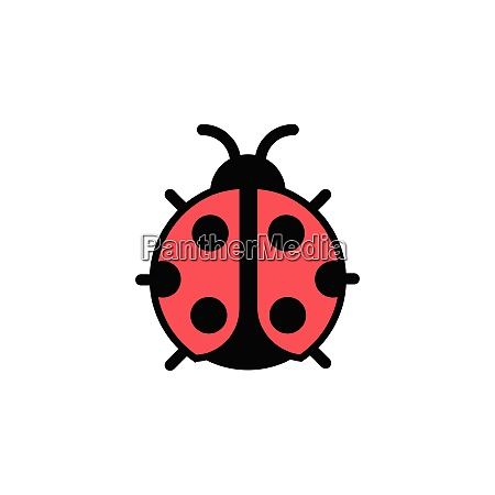 ladybug., filled, color, icon., animal, vector - 28258472