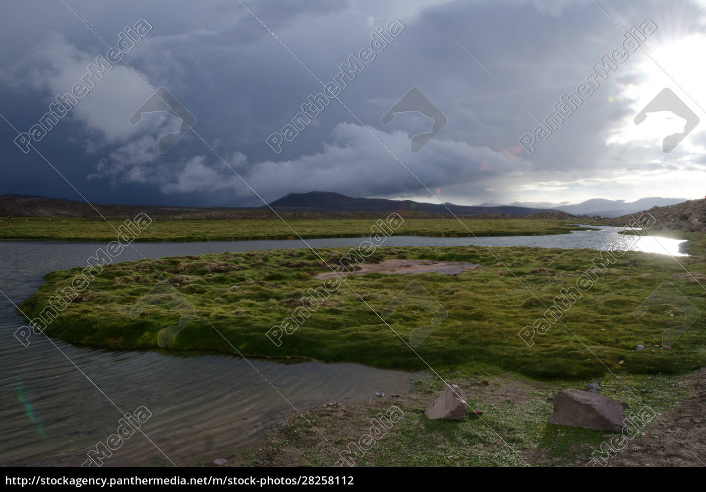 landscape, with, meadows, and, lagoon, in - 28258112