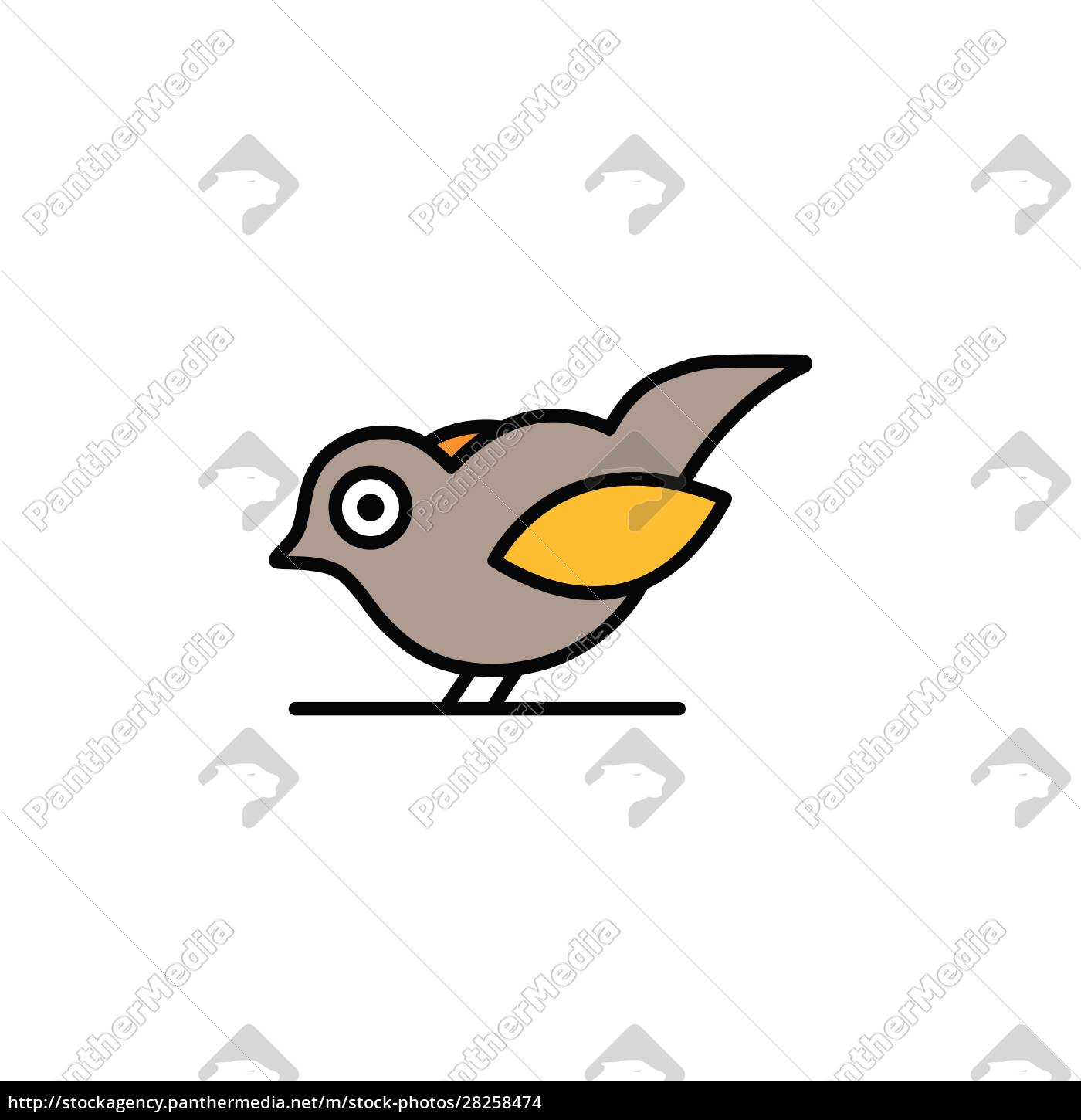 little, bird., filled, color, icon., animal - 28258474