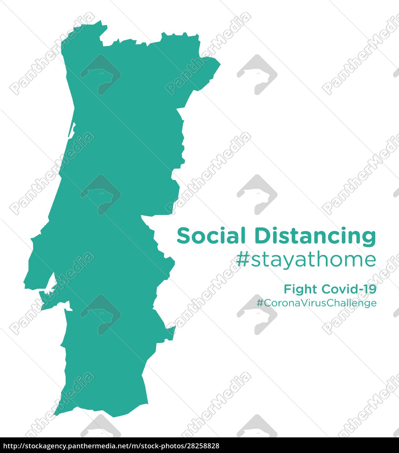portugal, map, with, social, distancing, stayathome - 28258828