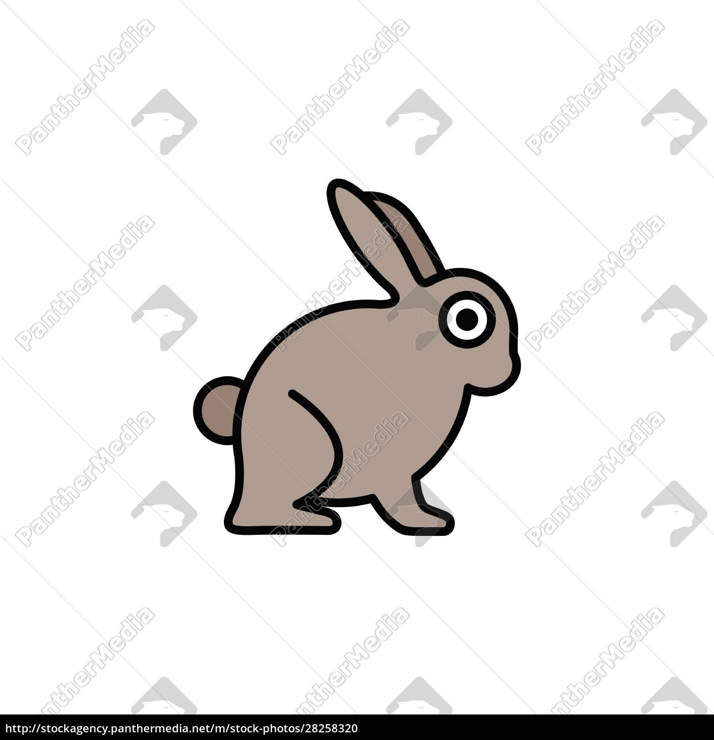 rabbit., filled, color, icon., animal, vector - 28258320