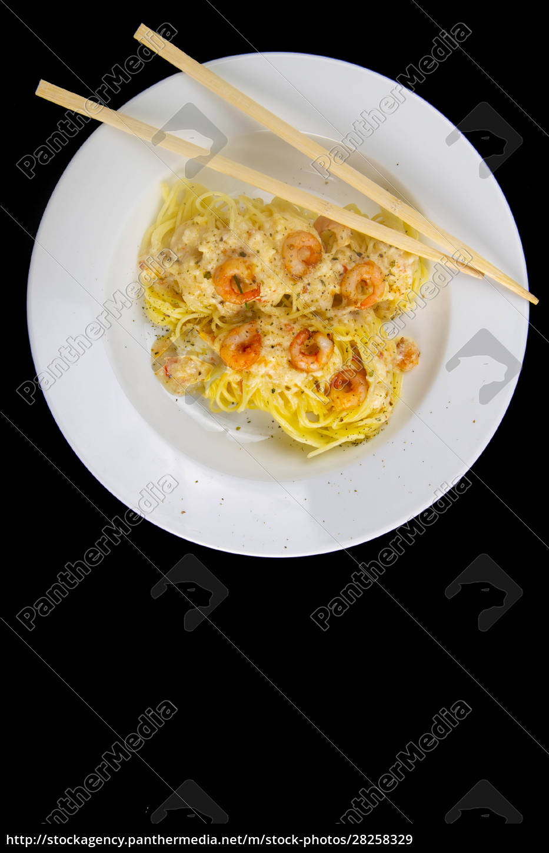 spaghetti, shrimp, in, white, dish, , top - 28258329