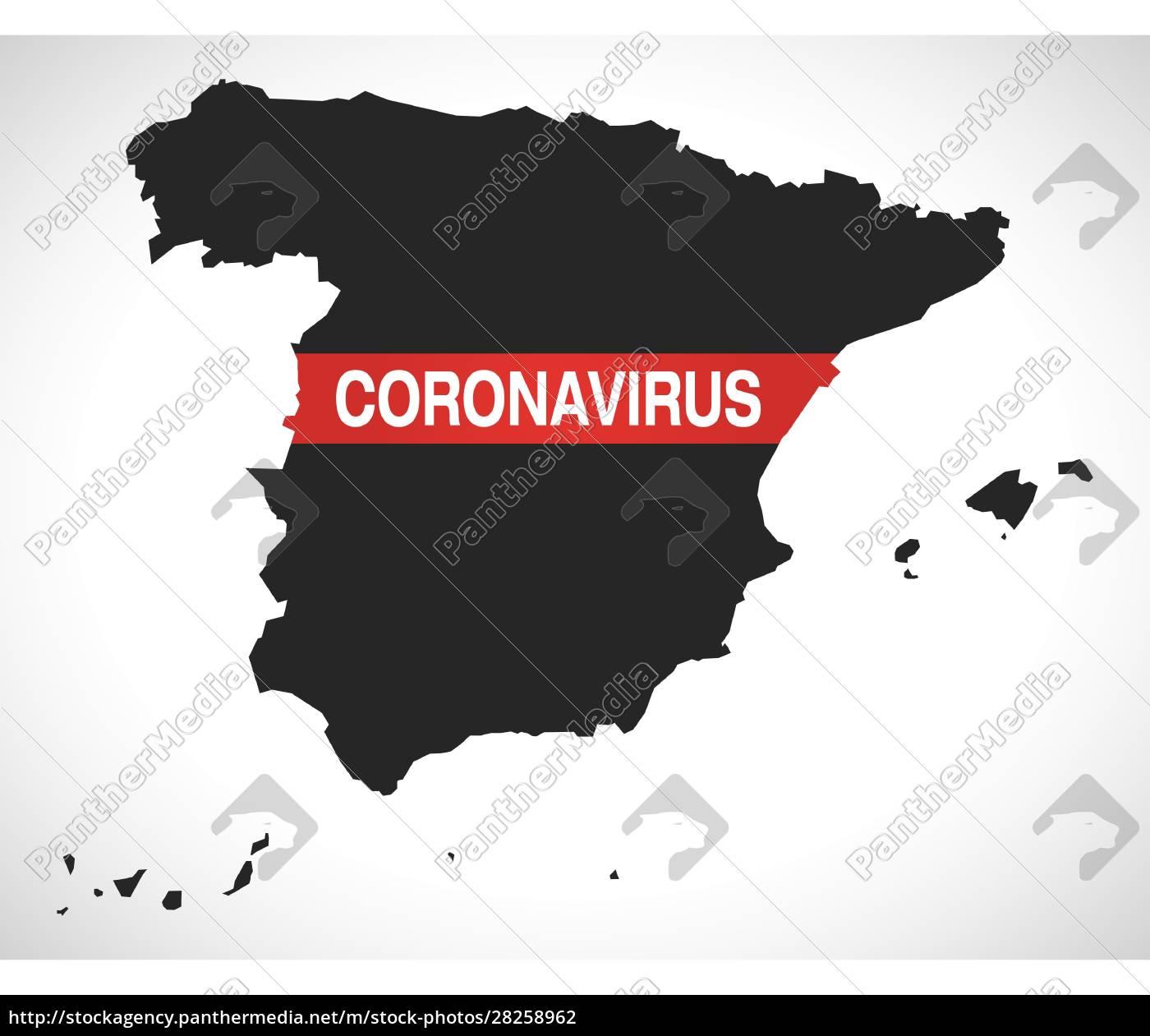 spain, map, with, coronavirus, warning, illustration - 28258962