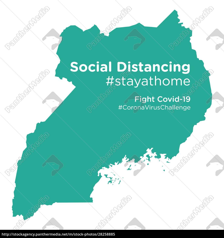 uganda, map, with, social, distancing, stayathome - 28258885